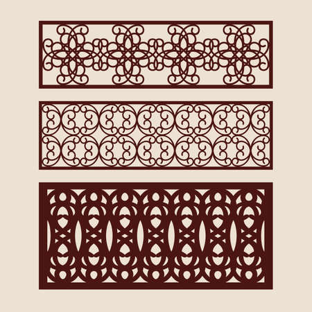Set floral geometric ornaments. Collection of decorative panel templates. The drawing is suitable for cutting paper, printing, laser cutting or engraving wood, metal. Manufacturer of stencils. Vector