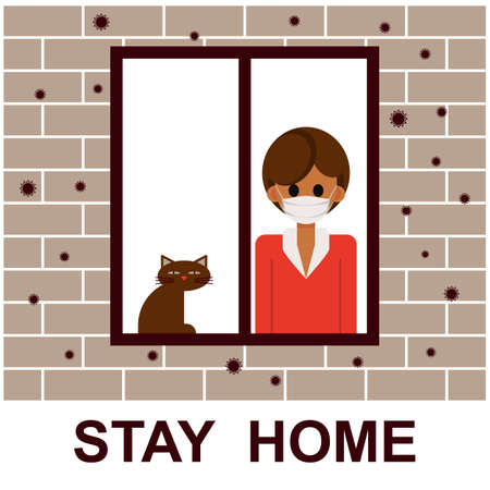 Stay home. Woman stays home during the quarantine or self-isolation. Health care concept. Global viral epidemic or pandemic. Fears of getting coronavirus. Flat vector illustration