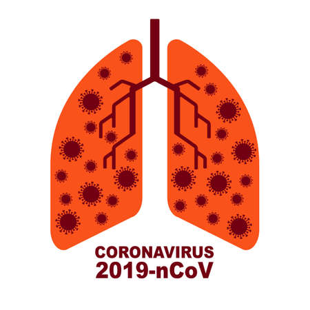 Human lungs medicine microscopic research concept. Respiratory virus infection danger, coronavirus. Flu pandemic medical concept. Vector illustration of prevention from influenza virus