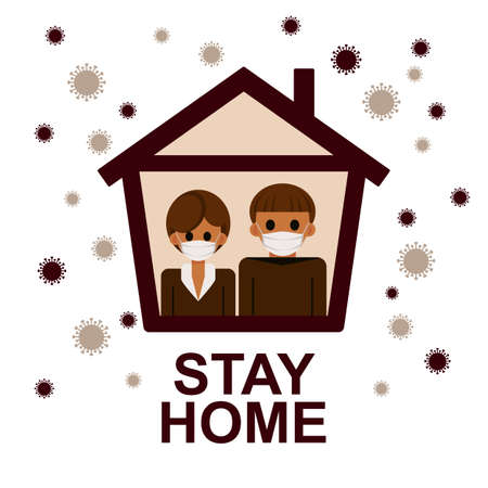 Stay home banner template. Family sitting home during the quarantine or self-isolation. Health care concept. Fears of getting coronavirus. Global viral epidemic or pandemic. Flat vector illustration Ilustrace
