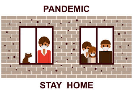 Stay home. Neighbors sitting home during the quarantine or self-isolation. Health care concept. Global viral epidemic or pandemic. Fears of getting coronavirus. Flat vector illustration