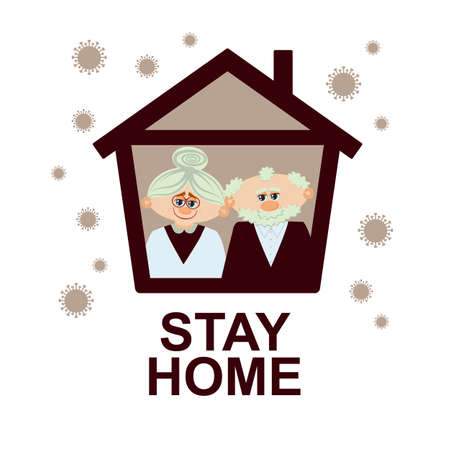 Stay home. Elderly couple sitting home during the quarantine or self-isolation. Health care concept. Global viral epidemic or pandemic. Fears of getting coronavirus. Flat vector illustration
