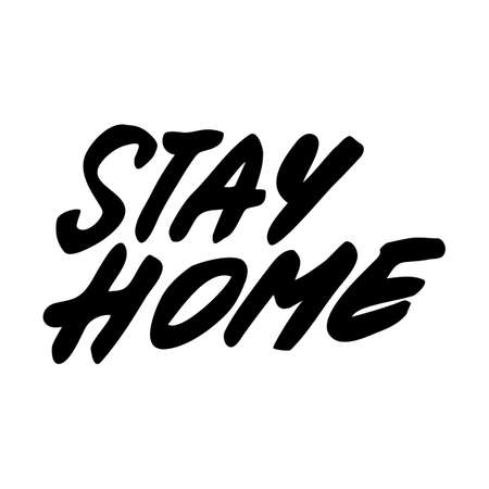 Vector hand drawn lettering about coronavirus isolated on white background. Covid-19, Stay Home, work in home. Pandemic protection. Monochrome illustration quarantine in doodle style Ilustrace