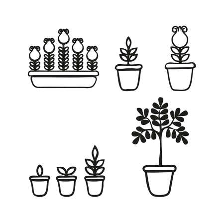 Potted plant phases set. The life cycle of home flowers. Growth stages seedling. Ripening growing period in a pot and flower box. Vector illustration in doodle style Ilustrace