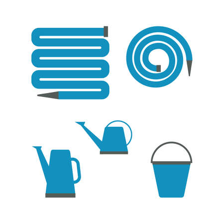 Set of various gardening tools garden hose or fire hose, bucket and watering can for irrigation. Vector illustration in flat style