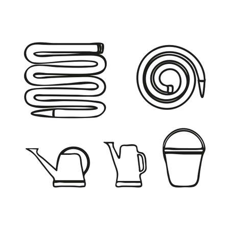 Set of various gardening tools garden hose or fire hose, bucket and watering can for irrigation. Monochrome vector illustration in doodle style