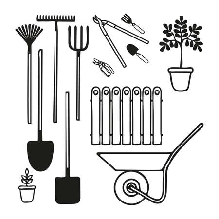 Set of various gardening tools trowel, tree secateurs, pitchfork, rake for  soil cultivating. Vector illustration of items for  farming in doodle style Ilustrace