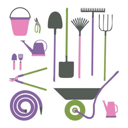 Set of various gardening items. Garden tools. Illustration of items for gardening in cartoon style. Vector illustration. Ilustrace