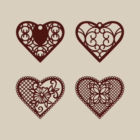 Set stencil lacy hearts with carved openwork pattern. Template for interior design, layouts wedding cards, invitations, etc. Image suitable for laser cutting, plotter cutting or printing. Vector