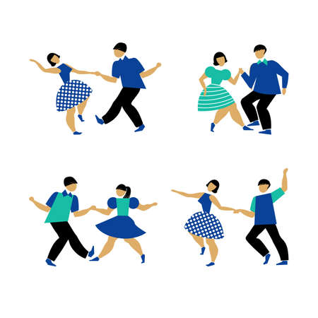 Dancing couple set on white background. The guy and the girl are dancing swing, rock and roll or Lindy hop. Male and female performing dance party. Vector illustration in flat style