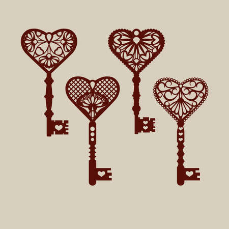 Set of templates of decorative keys for laser cutting, paper cutting, stencil making. The image is suitable for interior design, props, wedding, Valentine's day, individual creativity