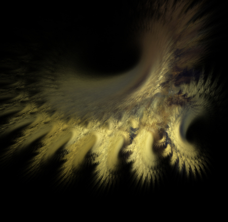 fractals: Fractals, fantastic yellow abstract nebula on a black background