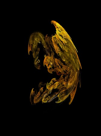 fractals: Fractals, abstract figure of a sad demon on a black background.