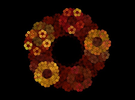 fractals: Fractals, abstract autumn wreath in yellow-brown tones on a black background