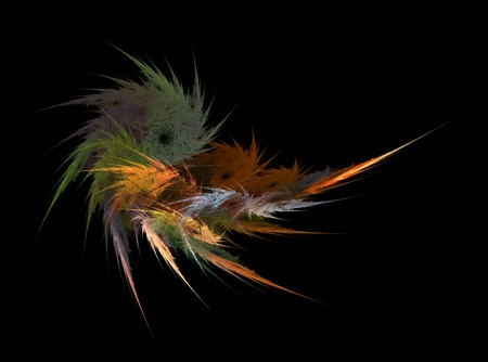 Fractals, abstract bundle of colored feathers on black background