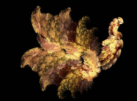 Fractals, abstract a fabulous bird on a black background. Stock Photo