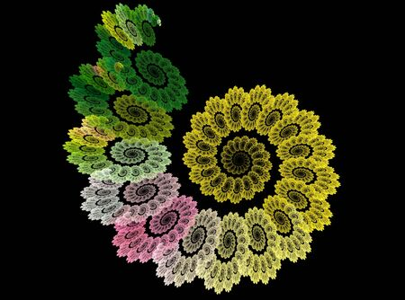 Fractal abstract colorful flower spiral on black background