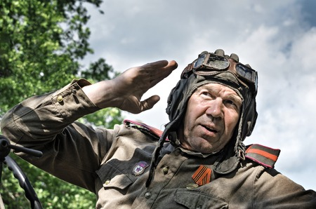 Historical festival in Mordovia, the Second World war, Russia, July 4, 2015. Portrait of a red army soldier, in the old helmet.