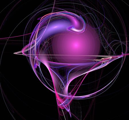 Fractals, pink ball and chaotic lines on a black background Imagens