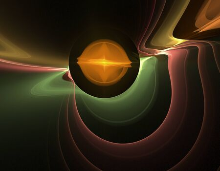 Fractal, bright ball and colored waves on a black background Imagens