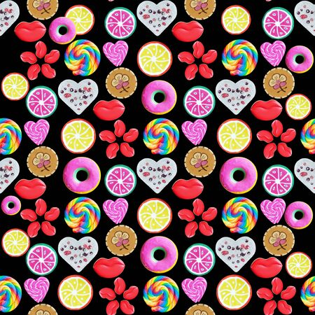Many different sweets isolated on a black background Banco de Imagens