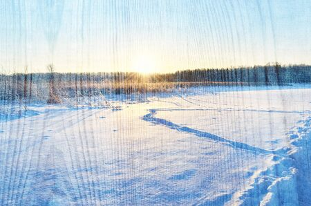 Display the background of winter Sunny nature on a wooden surface. Space for your text or design.