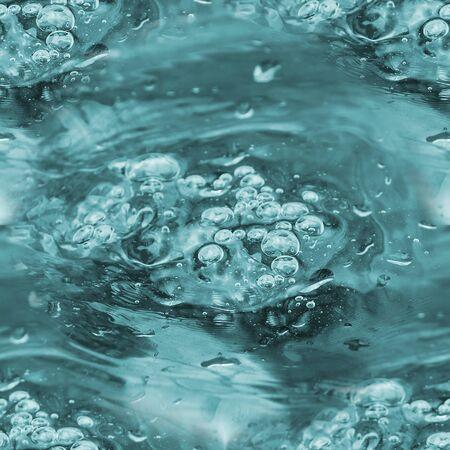 Niebieska wrząca woda z bąbelkami. bezszwowe tło kwadratowe Zdjęcie Seryjne