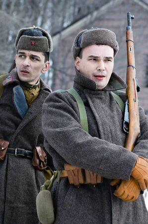 Reconstruction of the events of the Second world war, a portrait of participants in the winter uniform of the red army, close-up. Russia, Samara February 28, 2015.