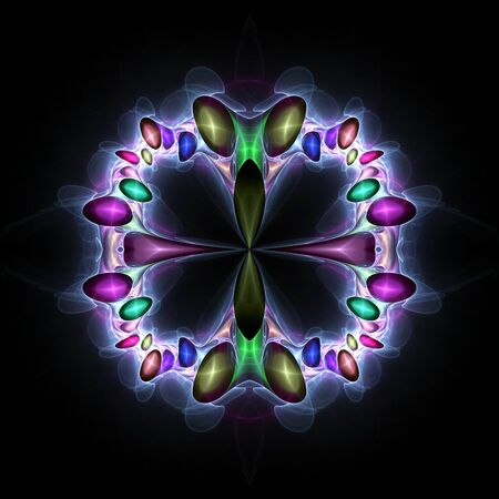 Colorful fantastic crystals in black space. Fractals on a square background