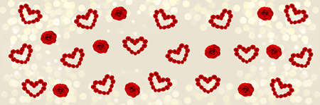 Beige widescreen bokeh background with scattered little rose hearts. The Concept Of Valentines Day