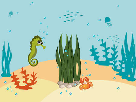 polyp: Family of marine animals under the sea. Funny cartoon and illustration Illustration