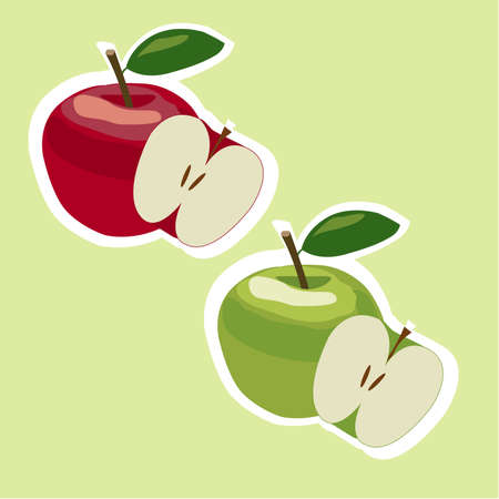 ripened: Set of fresh green and red apples with green leafs.