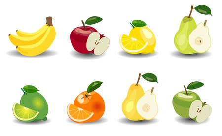 apples and oranges: Glossy style set of apples, bananas, pears, oranges, lemons and limes fruit icons illustration