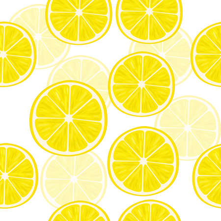 angles: Vector illustration of lemon slices in different angles. Pattern.