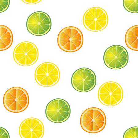 citric: Lime, lemon and orange slices seamless pattern. Hand drawn background. White back.