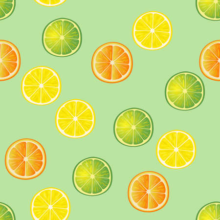orange slices: Lime, lemon and orange slices seamless pattern. Hand drawn background. White back.