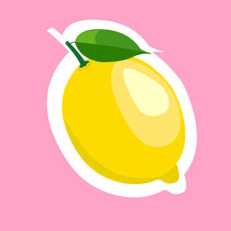 lemon slice: Flat yellow lemon slice cartoon food. Illustration