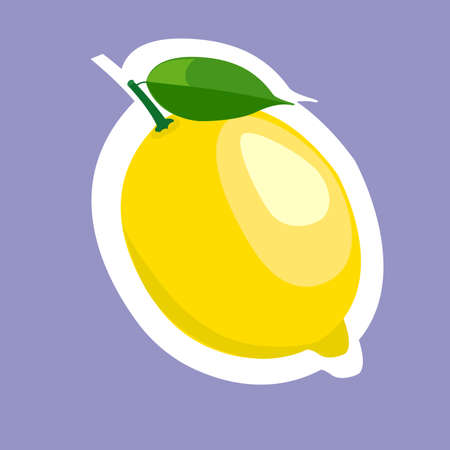 lemon slice: Sticker of yellow lemon slice cartoon food.