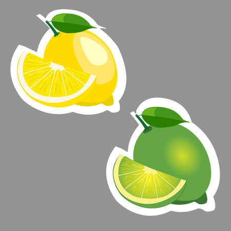 citric: Lemon and lime fruits sticker set.