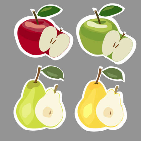 green apples: Set of red, yellow and green apples and pears stickers.
