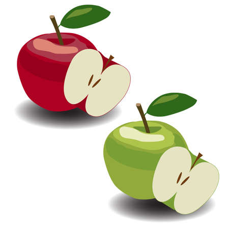 green apples: Set of fresh green apples with green leafs. Vector. Illustration
