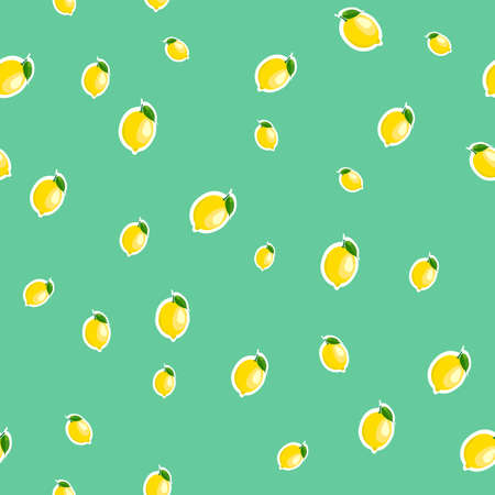 Small lemon different sizes sticker turquoise background. Pattern with lemon and leaves.