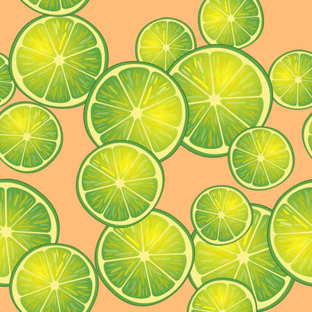 Illustration Seamless Pattern Slices of Lime on Orange, Repetition Background Illustration