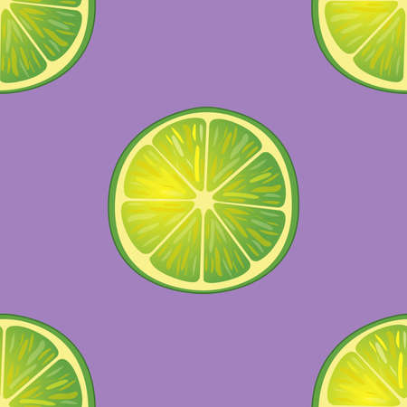 Illustration Seamless Pattern big Slices of Lime same sizes on purple, Repetition Background - Vector