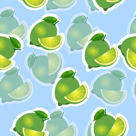 transparency: Lime with transparency. lime same sizes sticker blue background. Pattern with lime and leaves and slices. Illustration