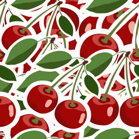 Cherry pattern. Seamless texture with ripe red cherries. Use as a pattern fill