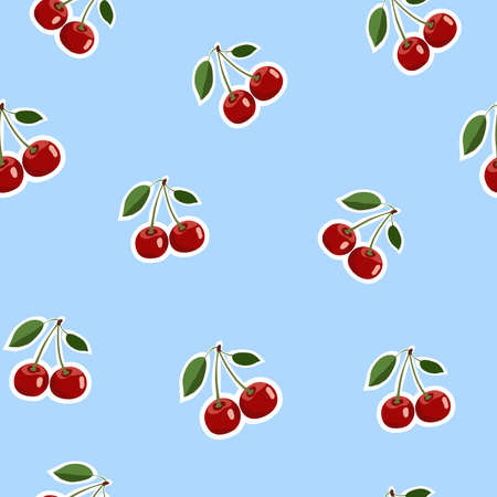 Seamless pattern background, small cherry red stickers same sizes ripe berrie. Blue background