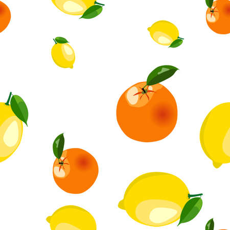 Seamless pattern with lemons and oranges stickers different sizes with leaves on white background.