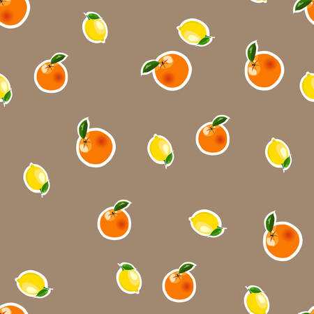 Seamless pattern with small lemons and oranges stickers different sizes with leaves on brown background.