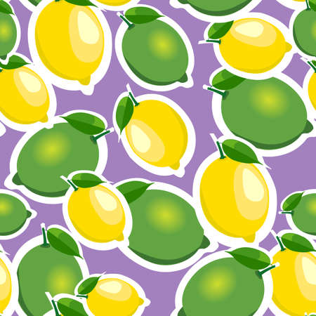 abstract food: Seamless pattern with big lemons and limes stickers different sizes with leaves on purple background.